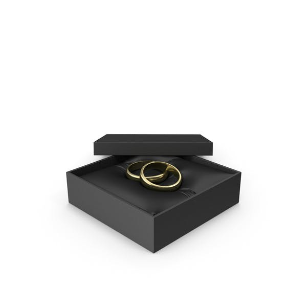 Wedding Gold Rings in a Gift Black Box