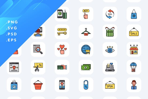 50 Online Shopping Icons
