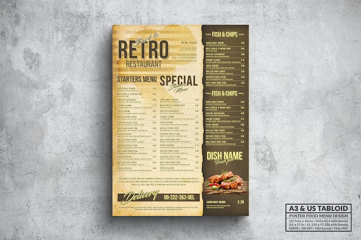 Thumbnail for Retro Poster Food Menu - A3 & US Tabloid