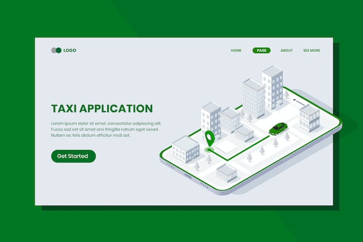 Thumbnail for Taxi Application Isometric Banner Template
