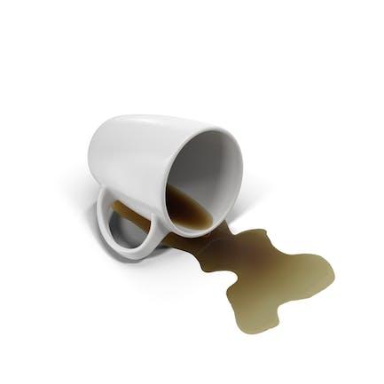Café derramado y taza