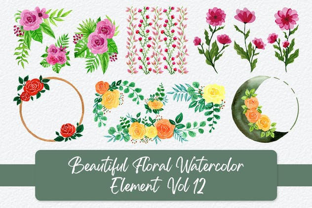 Beautiful Floral Watercolor Elements Vol 12
