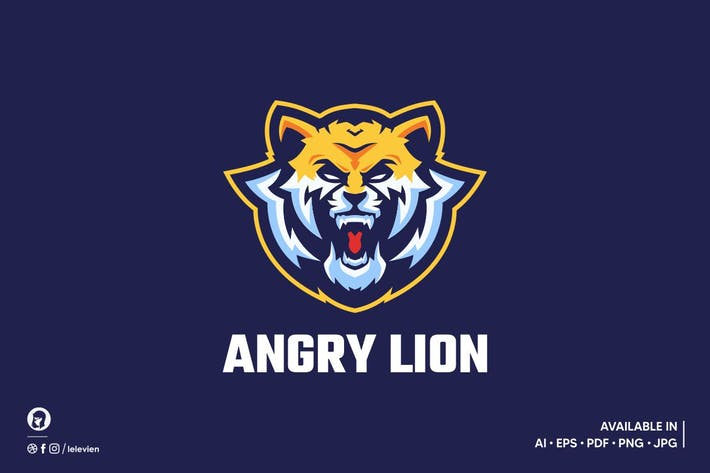 Thumbnail for Angry Lion logo template