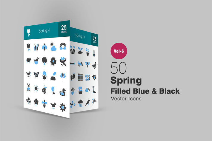 Thumbnail for 50 Spring Blue & Black Icons