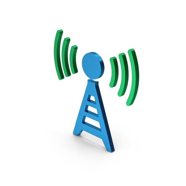 Symbol Antenna Green Blue Metallic