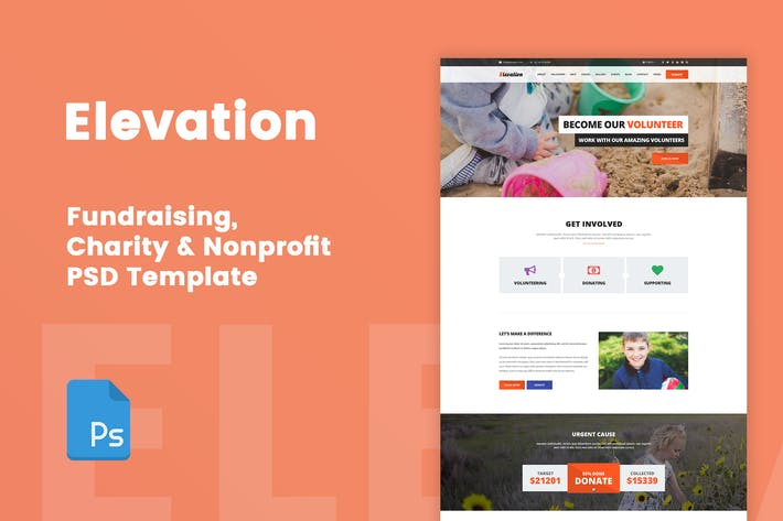 Thumbnail for Elevation - Charity & Nonprofit PSD Template