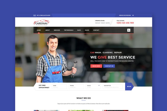 Thumbnail for Car Dinal - Car Wash & Workshop PSD Template