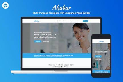 Akabar - Многоцелевой Unbounce целевой страницы