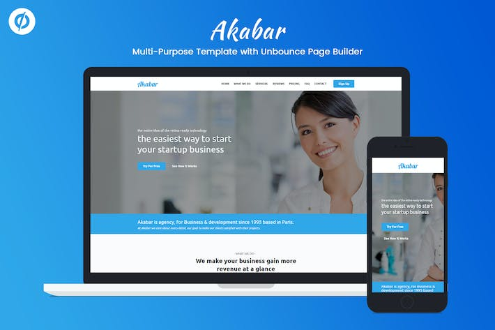 Thumbnail for Akabar - Multi-purpose Unbounce Landing Page