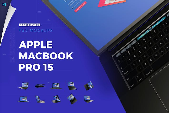 Thumbnail for 4K Mockup Pack | Apple Macbook Pro with Touchbar