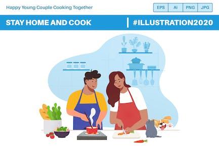 Glückliches junges Paar zu Hause bleiben und zusammen kochen