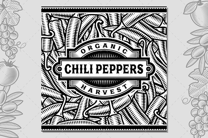 Thumbnail for Retro Chili Pepper Harvest Label Black And White