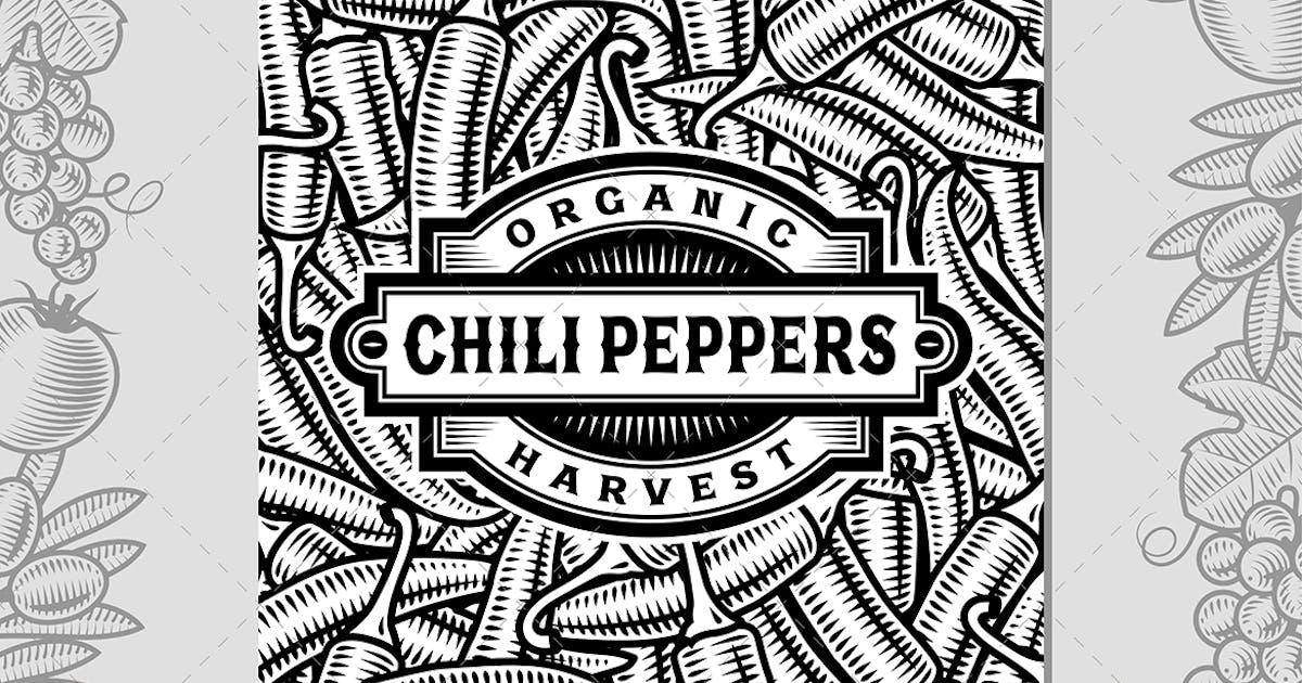 Download Retro Chili Pepper Harvest Label Black And White by iatsun