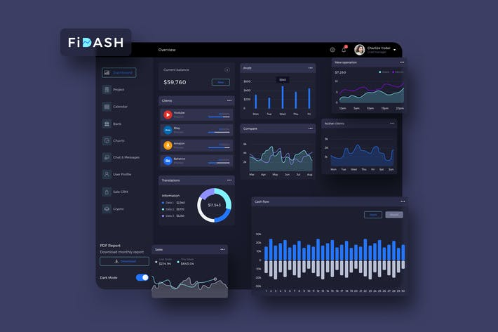 Thumbnail for FiDASH Finance Dashboard Ui Dark - P