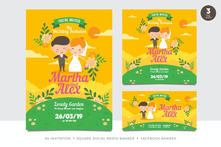 Thumbnail for Cute Couple Wedding Invitation Set Template