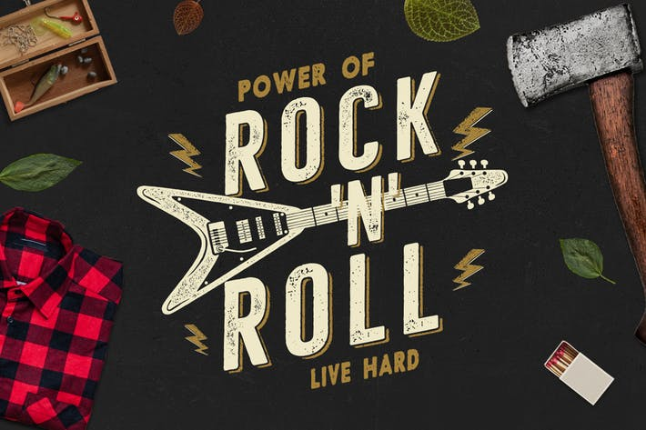 Thumbnail for Music Rock n Roll Print for T-Shirt, Retro Design