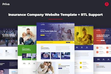 Priva - Insurance Company Website Template + RTL