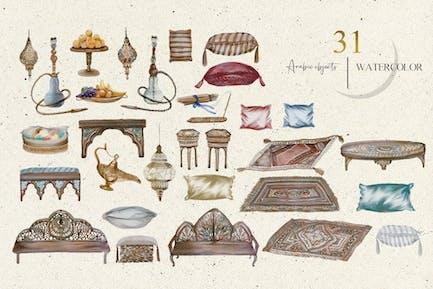 Créateur arabe aquarelle - set oriental