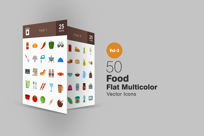 Thumbnail for 50 Food Flat Multicolor Icons