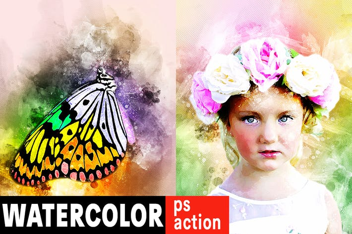 Thumbnail for Watercolor Artist Photoshop Action