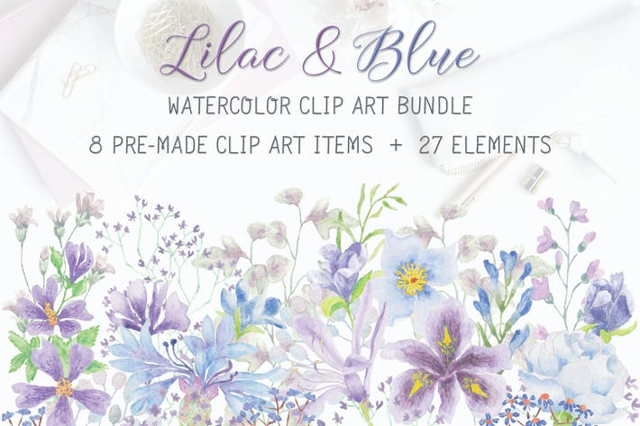 Thumbnail for Lilac and Blue Watercolor Clip Art Bundle