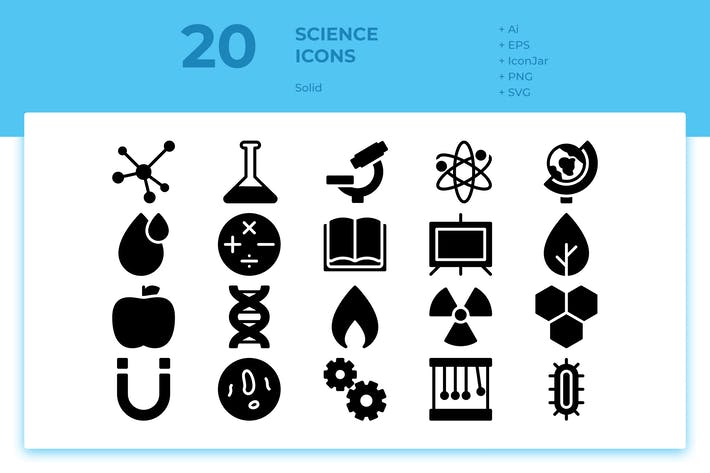 Thumbnail for 20 Science Icons (Solid)