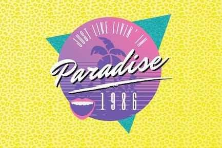 80er Jahre Beach Party Logo Design
