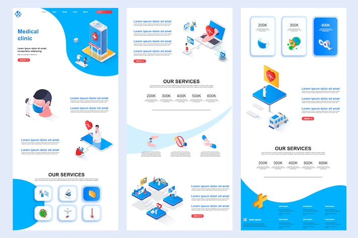 Thumbnail for Medical Clinic Isometric Landing Page Template