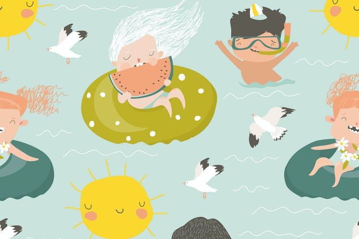 Thumbnail for Vector seamless pattern of kids having fun and swi
