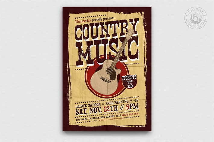 Thumbnail for Country Music Flyer Template V3