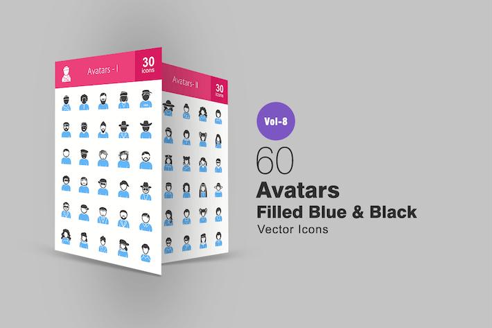 Thumbnail for 60 Avatars Filled Blue & Black Icons