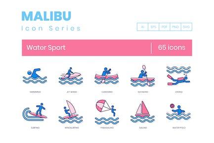 65 Íconos de línea de deportes acuáticos