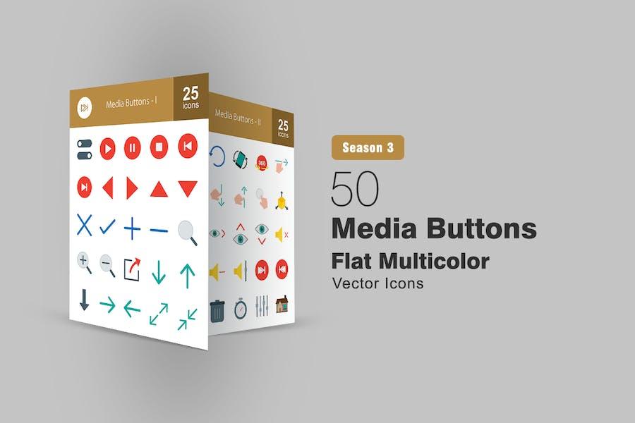50 Medientasten Flach Multicolor Icons