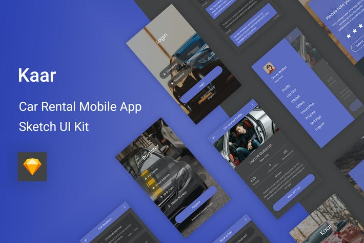 Thumbnail for Kaar - Car Rental Sketch UI Kit