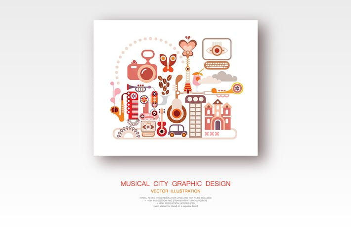 Thumbnail for Musical City Graphic Design vector illustration