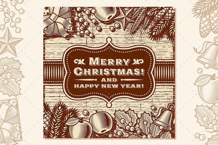 Thumbnail for Vintage Merry Christmas Card Brown