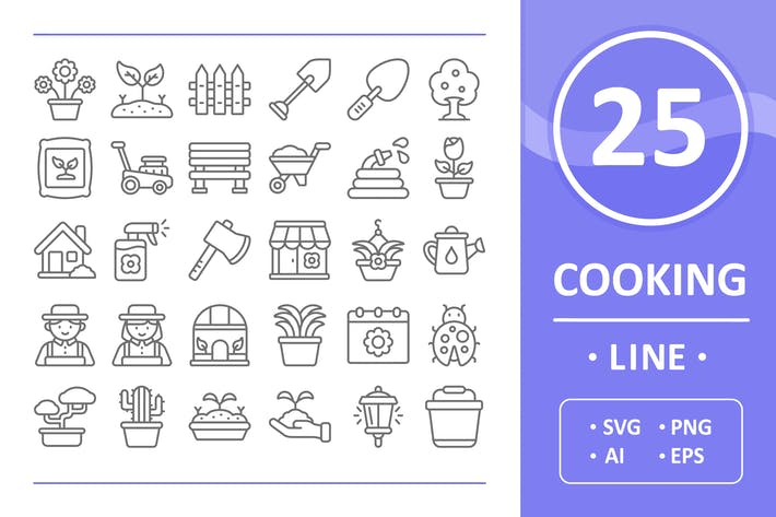 Thumbnail for Gardening Icons - Line