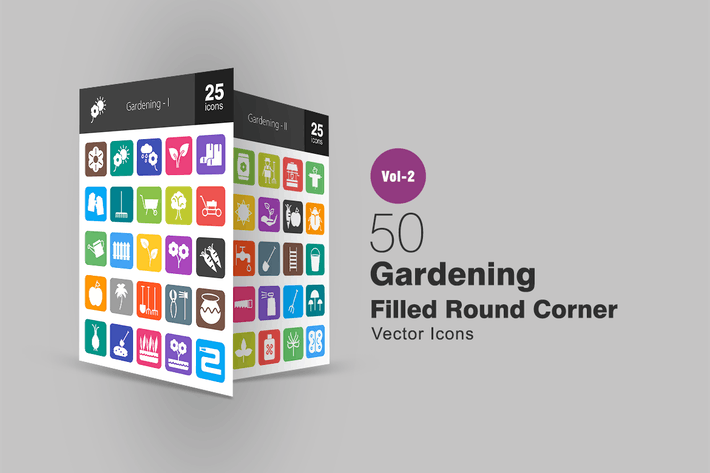 Thumbnail for 50 Gardening Filled Round Corner Icons