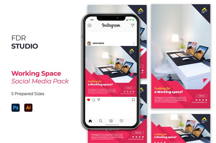 Thumbnail for Working Space Social Media Pack