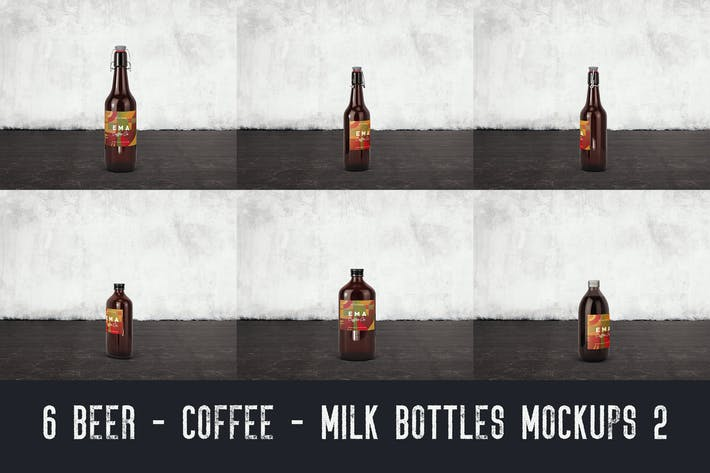 Thumbnail for 6 Bierkaffee Milchflaschen Mock-ups 2