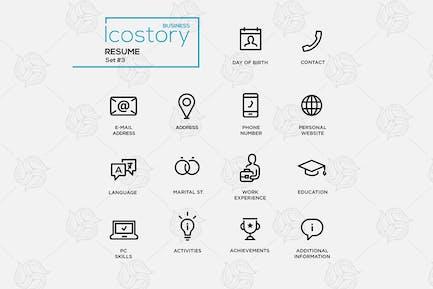 Modern resume simple thin line design icons