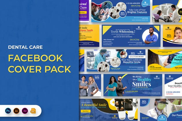 Dental Care Facebook Cover Banner Template