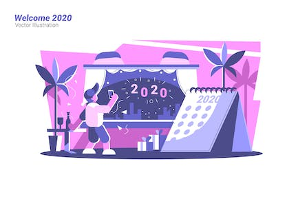 Welcome 2020 - Vector Illustration