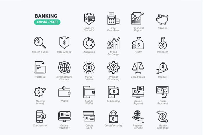 Thumbnail for Thin Line Icons Set of Banking