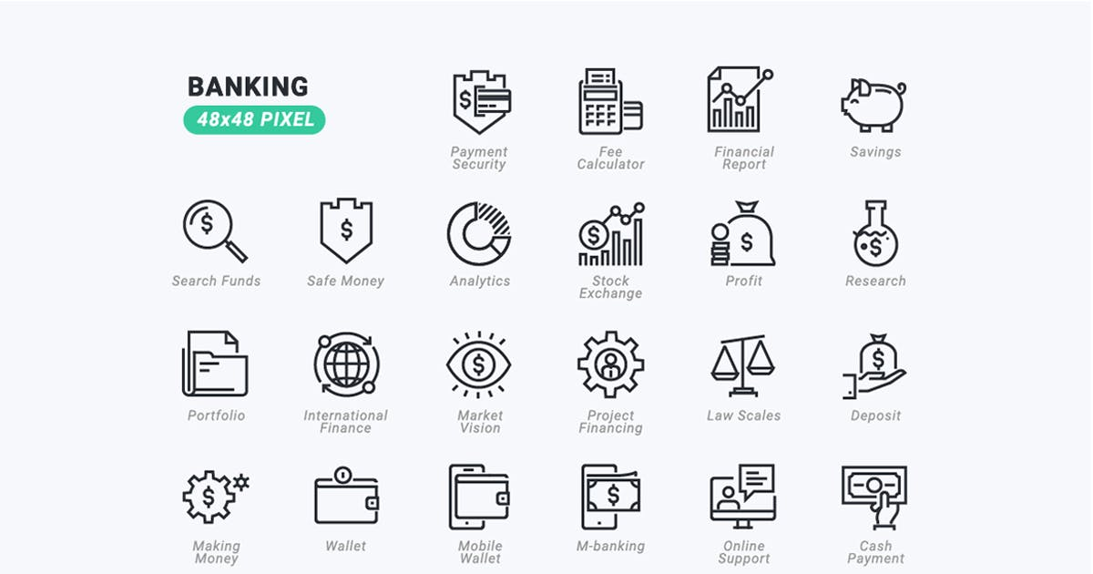 Download Thin Line Icons Set of Banking by PureSolution