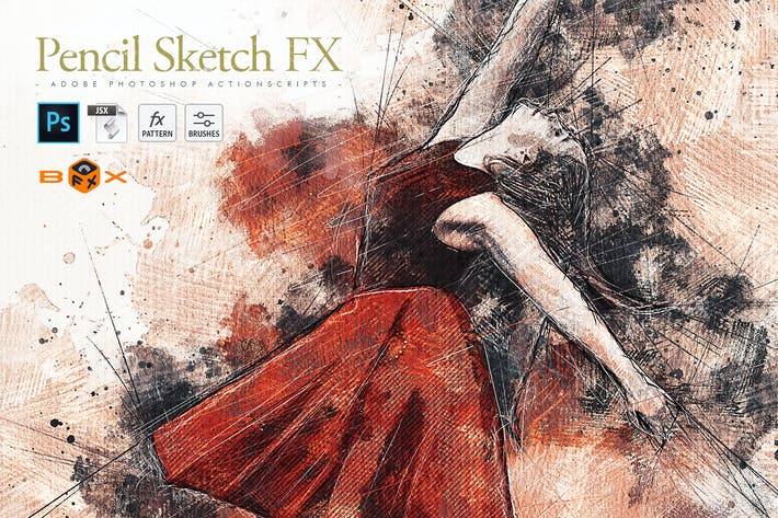 Thumbnail for Animated Pencil Sketch FX Photoshop Add-On