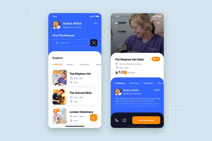 Thumbnail for Pet Clinic Mobile App UI Kit Template