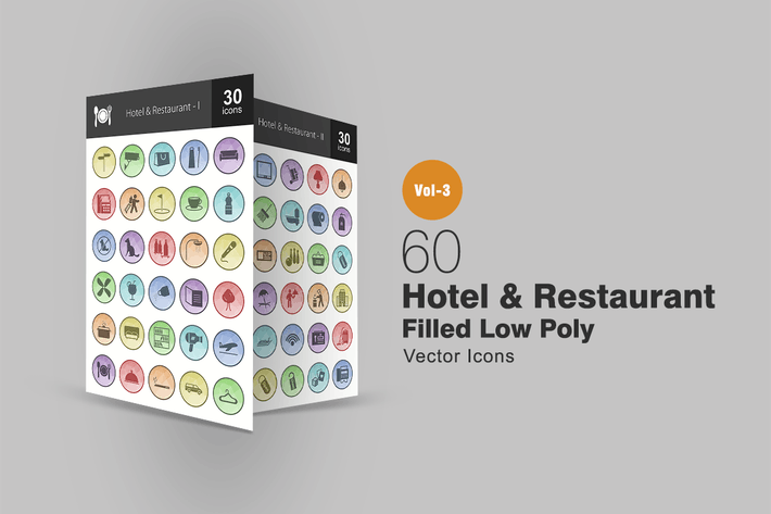 Thumbnail for 60 Hotel & Restaurant Filled Low Poly Icons