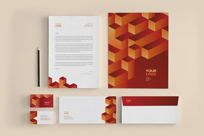 Thumbnail for Modern Red Orange 3D Stationery
