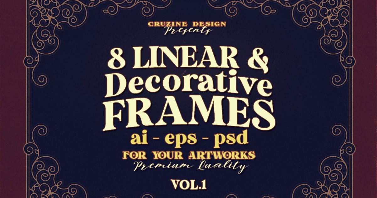 Download 8 Decorative & Linear Frames - Vol.1 by cruzine